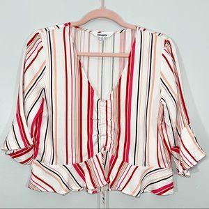 🌷BB Dakota | Red White Striped V-Neck Crop Top